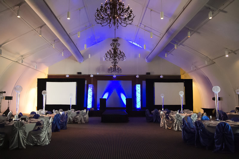 Blue Stage and Banquet Room.